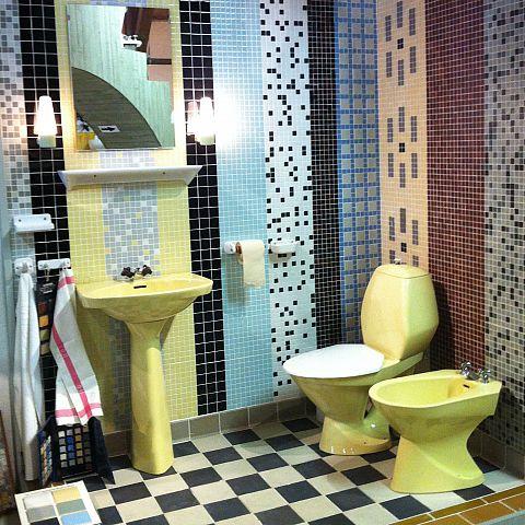 Iföverkens Industrimuseum utställning Golvplattor och mosaik